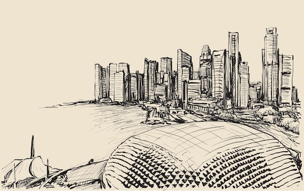 Sketch cityscape of singapore skyline