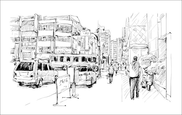 Sketch of cityscape in taiwan show taipei walk street and transportation, illustration