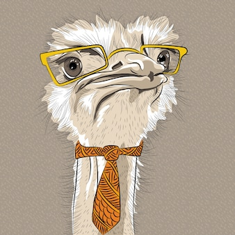 Sketch closeup portrait of funny  ostrich bird hipster in yellow eyeglasses and tie