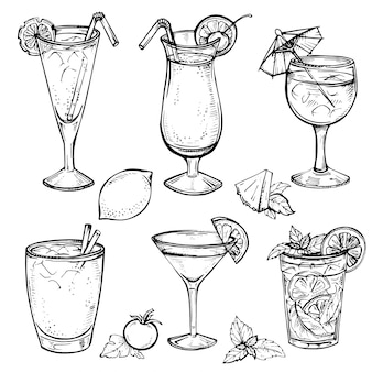 Sketch cocktails and alcohol drinks set.