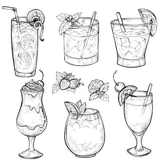스케치 칵테일 및 알코올 음료 세트.