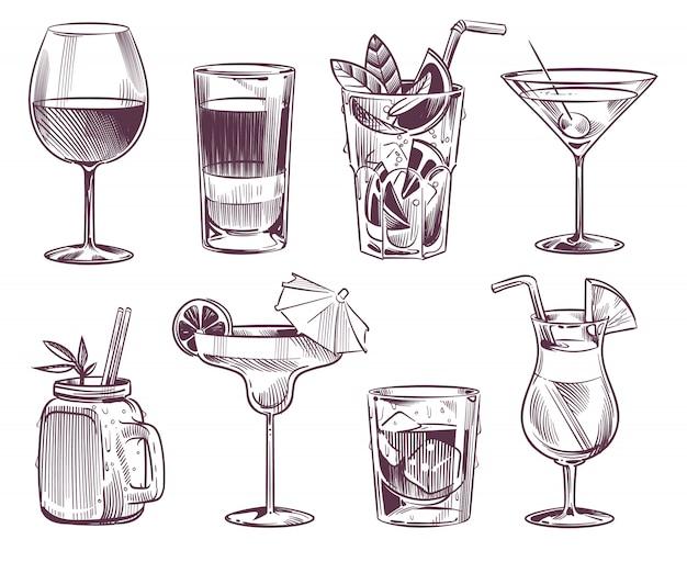 Эскиз коктейлей. ручной обращается коктейль и алкогольные напитки, различные напитки в бокале для вечеринки ресторана