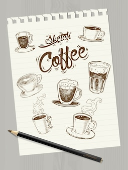 Sketch coffee on paper, vector illustration