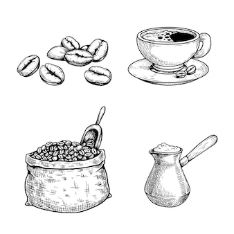 Sketch coffee set. coffee beans and bag with spoon, cup of coffee, turkish coffee maker cezve. hand drawn illustrations. isolated