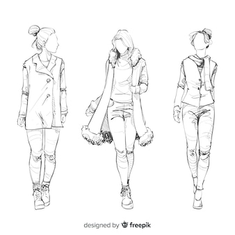 Sketch collection of fashion models