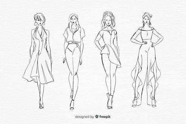 Schizzo collezione di modelli di moda Vettore gratuito