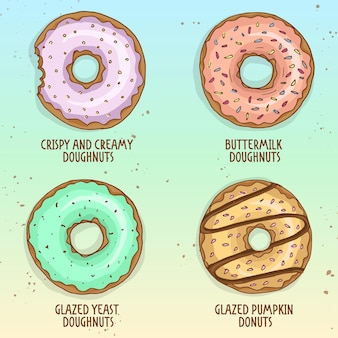 Sketch and color types of dessert