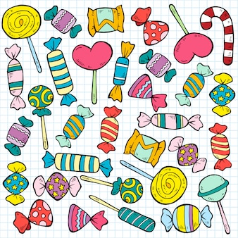 Sketch colored candies and lollipops pattern