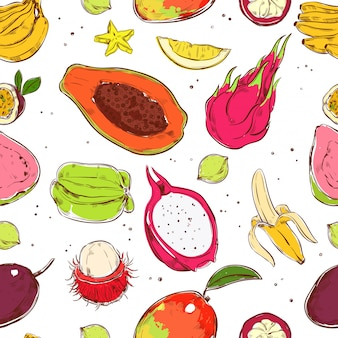 Sketch colored exotic fruits seamless pattern