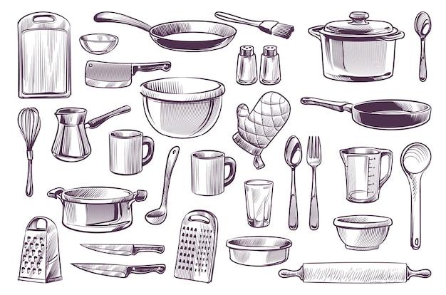 Эскиз кухонного оборудования. набор рисованной каракули кухонная утварь, кастрюля и нож, вилка и сковорода, ложка и чашка, разделочная доска, гравировка в стиле гастрономии, кулинарная векторная изолированная коллекция