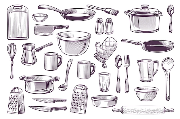 Sketch cooking equipment. hand drawn doodle kitchen utensils set cooking pot and knife, fork and frying pan, spoon and cup, cutting board engraving style gastronomy culinary vector isolated collection