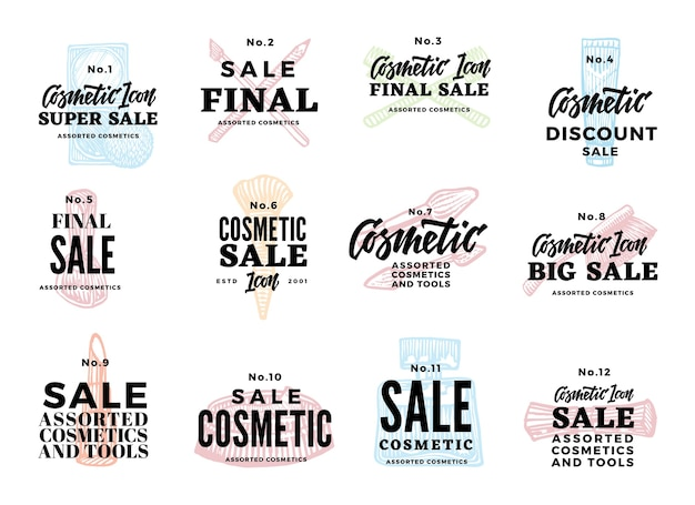 Sketch cosmetic logotypes set