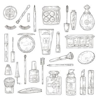 化粧品をスケッチします。つけまつげ、口紅と香水、パウダーとメイクブラシ、マニキュア、ファンデーションとピンセットの落書きベクトルセット。メイク美容口紅、パウダーと香水のイラスト