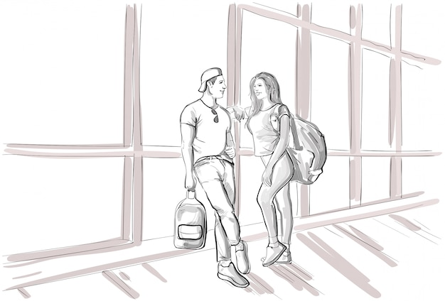 Sketch couple in airport lounge waiting departure flight man and woman holiday travel