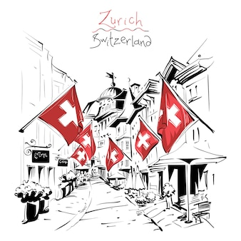 Sketch of cozy street with swiss flags in the old town of zurich, the largest city in switzerland.