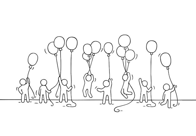 Sketch of crowd little people. doodle cute miniature scene of workers with balloons. hand drawn cartoon for business and celebration design.