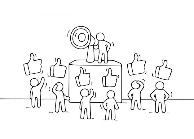 표지판과 같은 작은 사람들의 군중을 스케치하십시오.