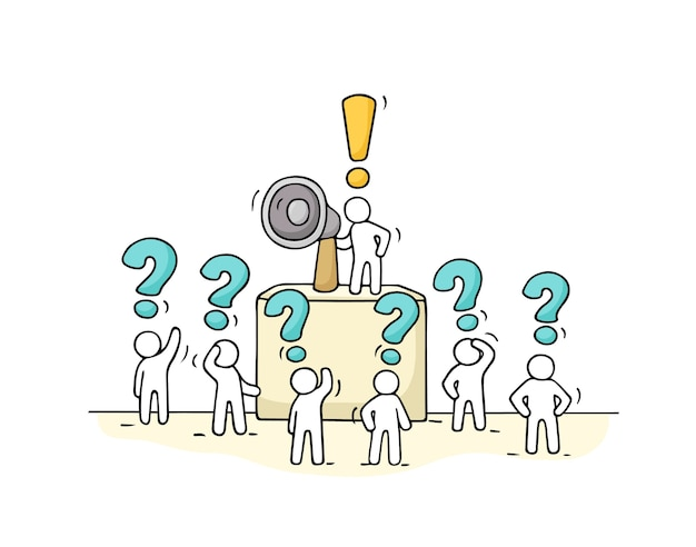 Нарисуйте толпу маленьких людей с вопросами. милая миниатюра каракули с лидером на трибуне и мегафоном. ручной обращается мультфильм для бизнес-дизайна.