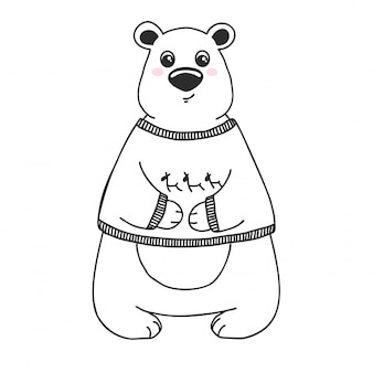 Sketch cute animal. bear in a doodle style.