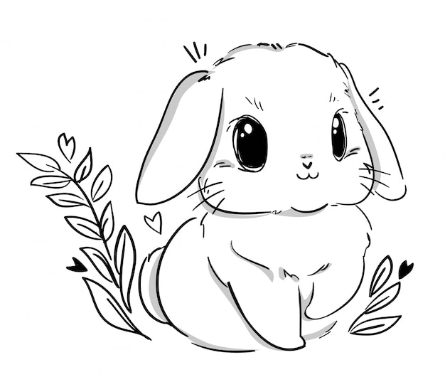 かわいいウサギとハートをスケッチします。 tシャツに幼稚なプリントデザイン。バニー。