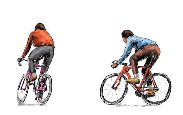 Sketch of cyclist riding fixed gear bicycle on street, illustration