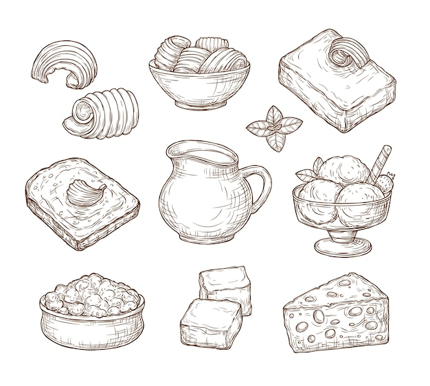 Sketch dairy products set