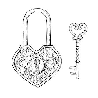 장식 하트 모양 키와 빈티지 자물쇠를 스케치합니다.