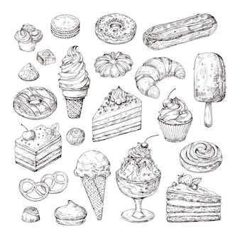 Sketch dessert. cake, pastry and ice cream, apple strudel and muffin in vintage engraving style. hand drawn fruit desserts isolated vector set illustration