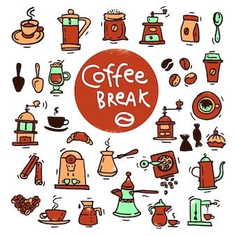 Эскиз каракули набор иконок кофе. рука нарисованные векторные иллюстрации. элементы дизайна меню