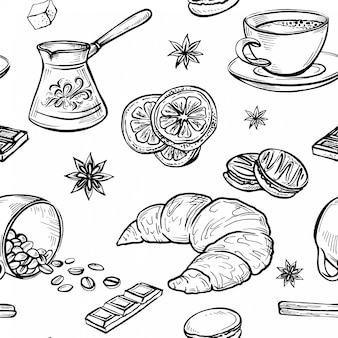Sketch doodle seamless pattern of coffee drawings, handmade sketches of coffe set
