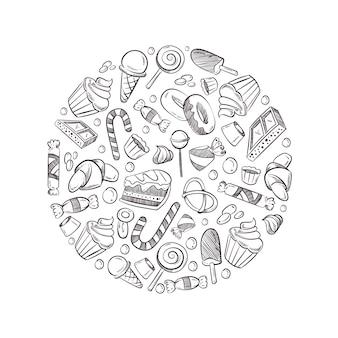 Эскиз каракули сладости, конфеты, мороженое иллюстрации.