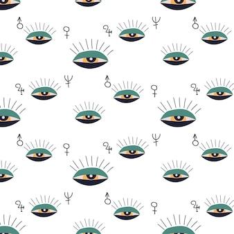 Эскизный рисунок. эзотерические векторные иллюстрации, узор. абстрактный глаз.