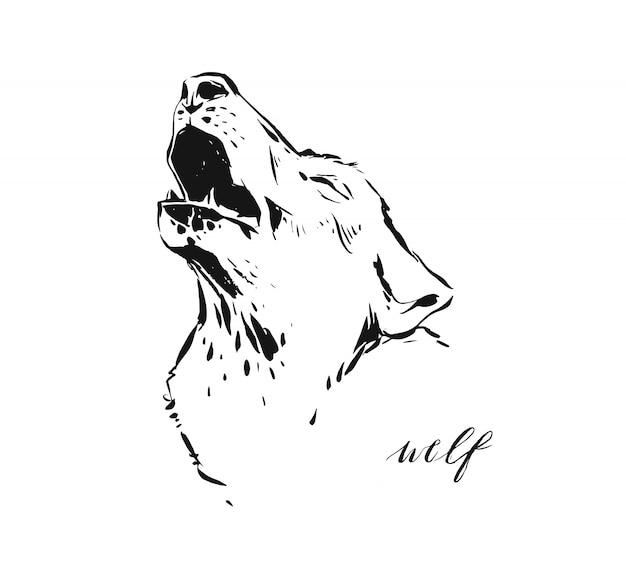 야생 동물 늑대 머리의 스케치 드로잉 그림 흰색 배경에 고립