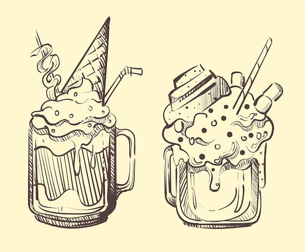 アイスクリームとミルクセーキのスケッチ画