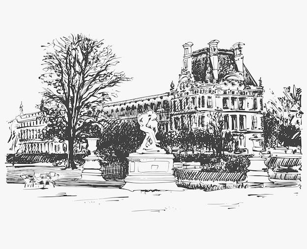 パリ、フランスの有名な場所、ルーブル美術館のスケッチ画、白黒