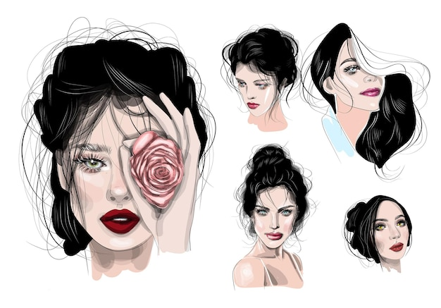 Sketch drawn by hand. set women, faces of beautiful girls.
