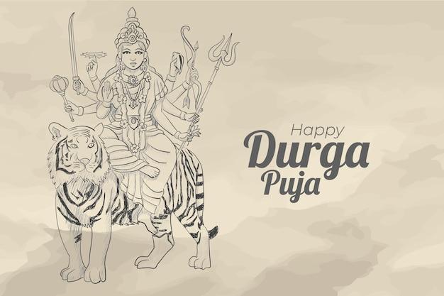 Sketch of durga puja celebration