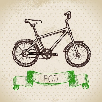 Sketch ecology vintage background. hand drawn vector illustration