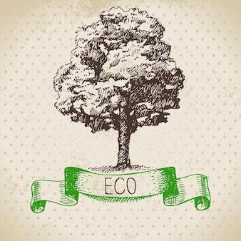 エコロジーヴィンテージの背景をスケッチします。手描きのベクトル図