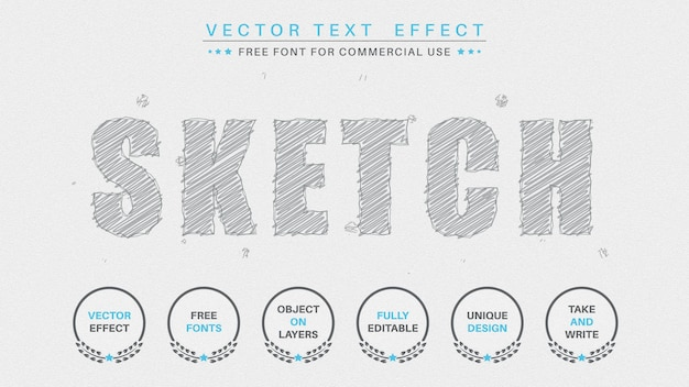 Sketch editable text effect  font style