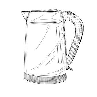 Sketch of electric kettle on a white background.  illustration in sketch style.