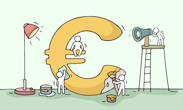 Sketch of euro sign with working little people.