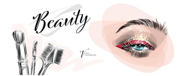 Набросок макияжа глаз, наращивание ресниц или ламинирование и коррекция бровей