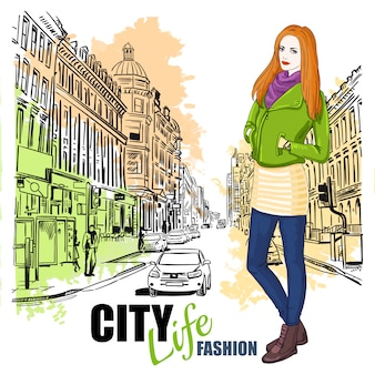 Sketch fashion city street poster