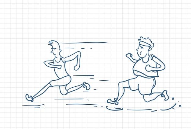 Sketch of a fat man running