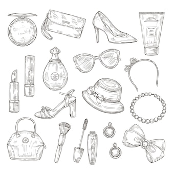 Sketch female accessories. female shoes, lady handbag and hat, mascara and lipstick, perfume and earrings hand drawn set.