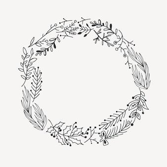 Эскиз праздничного рождественского круглого венка с ветками деревьев и иллюстрацией ягод падуба