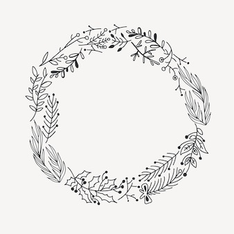 Sketch festive christmas round wreath with tree branches twigs and holly berry illustration
