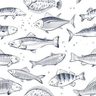 Sketch fishes seamless pattern