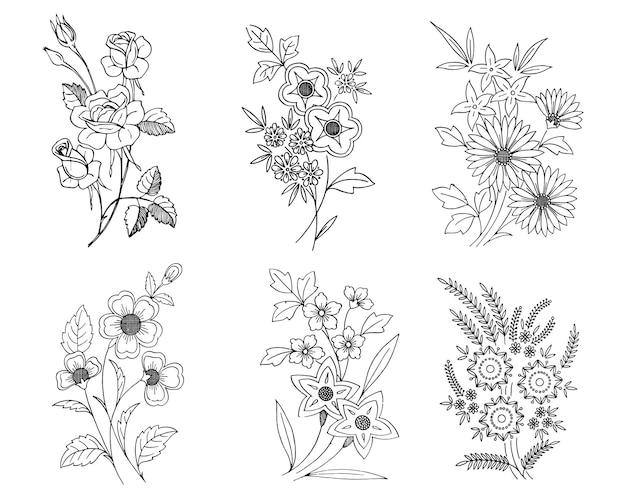 花のイラストをスケッチ